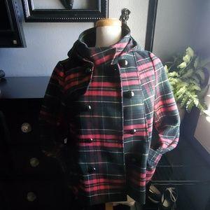 H&m perfect plaid coat with hood